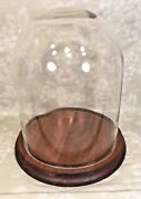 Vintage Glass Display Dome With Wood Base