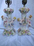 Vintage Pair Of Signed Capodimonte Italy Porcelain Table Lamps Cherubs And Roses