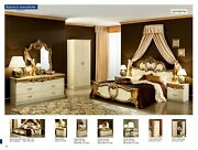 Esf Barocco Queen Bedroom Set In Ivory And Gold Finish 6 Pieces Made In Italy