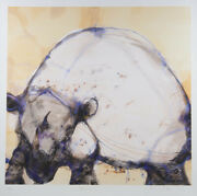 John Olsen And039white Rhinoand039 Limited Edition Print Hand Signed By The Artist