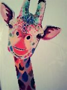 Counted Cross Stitch Giraffe Finished Matted And Framed.andnbsp 18 X 24 For Nursery.