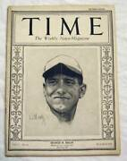 March 1925 Time Magazine W/ George Sisler Cover - 1st Baseball Cover Rare