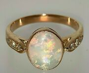 18 Carat Rose Gold Natural Solid Dark Opal And Diamond Ring Size N 1/2 1.36 Cts