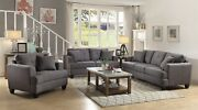 Modern 3-piece Linen-like Fabric Sofa Set With Couch Loveseat And Chair Charcoal