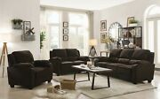 Transitional 3-piece Sofa Set Couch Loveseat And Chair Brown Chevron Velvet