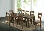 Rustic Country 9-piece Dining Set Solid Wood Table And Side Chairs, Golden Brown