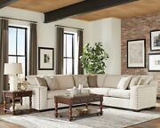 Modern 5-seater Chenille Fabric Sectional Sofa Set With Accent Pillows Beige