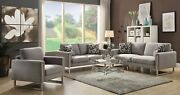 Modern Chic 3-piece Sofa Set Couch Loveseat And Chair With Pillows Gray Fabric