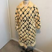 Vintage Cream Mink And Black Leather Custom Made Double Breasted Coat Jacket L