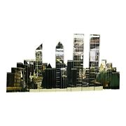 Large Vintage New York City Skyline Mirror Wall Sculpture With Wtc Twin Towers