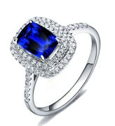 Sapphire And Diamond Solitaire With Accent Halo Engagement Ring 10k White Gold