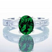 Emerald Solitaire With Accent Wedding Engagement Ring 10k White Gold