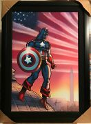 Captain America Giclee Canvas 2/4 Hand Signed Stan Lee And Howard Chaykin W Coa