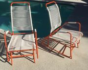 Mid Century Eames Era Patio Glider Lounge Chairs, Not Brown Jordan, Refinished