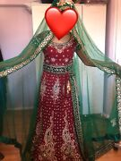 Red Velvet And Green Wedding Lengha | Asian Indian Wedding | Heavy Embroidery