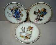 3 Vintage Hummel Collector Annual Plates 1972, 1973, 1974 7-1/2'' A+ Condition