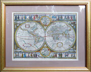4 Pictures Collection Old World Maps Gold Frame Under Glass Art