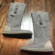 Ugg Australia Women's Size 7 Gray Classic Cardy Gray Knit 5819 Tall Boots