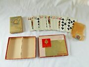 Vtg Two Decks Pinochle Cards Russell N.y. Gladstone Sailing 1 Sealed Tax Stamp