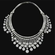 White Round Baguette 925 Sterling Silver Necklace Cocktail Party Fine
