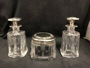 American Gorham Sterling And Hawkes Glass 3 Piece Dresser Set