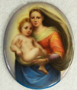 Antique Porcelain Hand Painted Miniature Plaque Of The Madonna And Child
