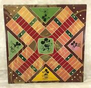 Vintage Mickey Mouse Game Board Made Of Slate Tile Parcheesi/chess Checkers