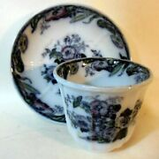 Antique Polychromatic Flow Blue Cup And Saucer Avon Pattern Ironstone Urn Flowers