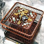 Asian Bird Cage Rosewood Wooden Pet Nest Home Shell Inlay Craft High End