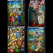 7845 Set Of 2 Family And Faith Stained Glass Windows C. 1910 77 X 44