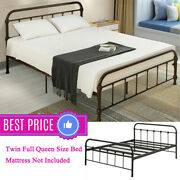 Twin/full/queen Vintage Antique Metal Bed Frame Platform W/headboard And Footboard