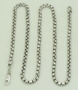 14k White Gold Hammered Rolo Link Chain Necklace 17.75 Inch 3.3mm 26.4g M1362