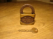 Rare Antique Solid Iron And Bronze Padlock With Key