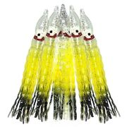 Fish Wow 5 Squid Skirt Octopus Trolling Hoochies Wave Lure Lot Yellow Black Si