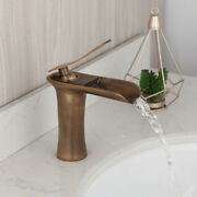 Antique Brass Waterfall Spout Bathroom Vanity Basin Single Hole Mixer Faucet Tap