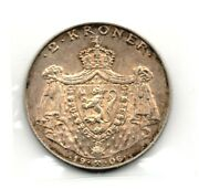 1906 Scarce Norway Haakon Vii Silver Two Kroner Independence Coin