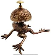 Antique Solid Brass Frog Front Desk Retail Counter Store Bell Call Ringer Bell