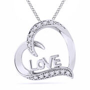 1/10ct Real Diamond Heart Love Pendant 925 Silver 18 Chain Valentine Gifts