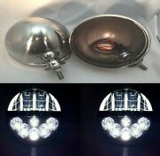 Pair Dietz 7 Stainless Headlight Lamp Buckets W/ Projection Led Headlights