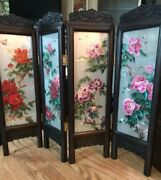 """Antique Chinese Embroidered Hand Carved Table Screen Large 15"""" By 19"""" Suzhou Art"""