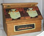 Fat Chef Bread Box Handcrafted Solid Pine Made In Usa Stained Golden Oak