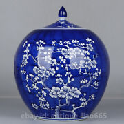 11.1 Chinese Porcelain Blue-and-white Ice Plum Blossom Tea Caddy Jar Pot Kettle