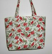 Handmade Christmas Cardinals And Holly Berries With Poinsettias Tote Bag Purse