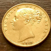 Rare 1849 Gold Great Britain Young Head Shield Full Sovereign Coin Unc Die Flaws