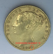Rare Tall 0 Type 1860 Gold Great Britain Young Head Shield Full Sovereign Coin
