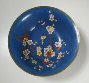 Jingfa Chinese Cloisonne Bowl W/ Butterfly And Flowers - Blue Background