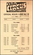 Mills Bros. 3 Ring Circus Menagerie And Horse Show 1952 Official Route Card No.17