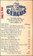 Hagen Bros. Circus 1958 Official Route Card No.10 Postally Used