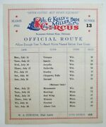 Al G. Kelly And Miller Bros. Circus 1952 Season Official Route Number 13