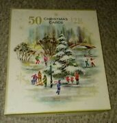 Box Of 34 Vintage Christmas Cards 4 Used 30 Unused 1940and039s Or 1950and039s Original Box